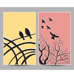 card birds tree vector image