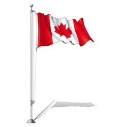 Flag pole canada vector
