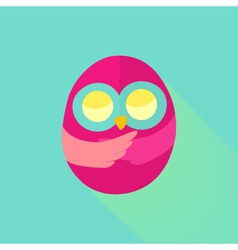 Pink flat owl over mint vector