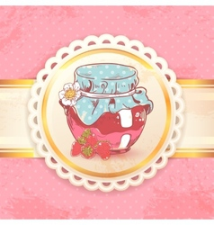 Strawberry jam retro background vector