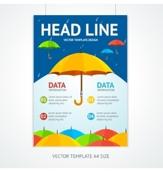 Placard poster template with umbrellas vector