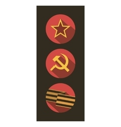 Set of flat style icons of soviet union signs vector