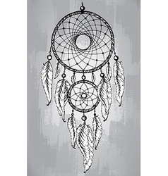 Dream catcher with feathers in line art style vector