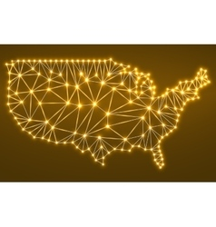 Abstract polygonal map usa with glowing dots and vector