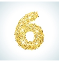 Six number in golden style vector