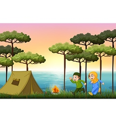 Muslim couple camping in the woods vector image