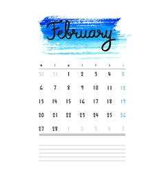 Calendar 2017 template with bright blue watercolor vector