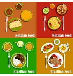 Mexican and brazilian cuisine dishes vector