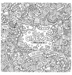 Cartoon hand-drawn cinema doodle frame vector