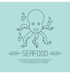 Seafood icon with octopus and bubbles vector