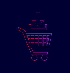 Add to shopping cart sign line icon with vector