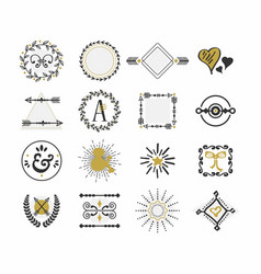 black and golden retro hand drawn sign icons set vector image