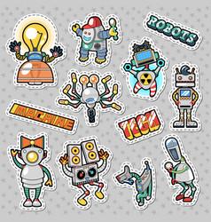 Cartoon robots and mechanic machines doodle vector