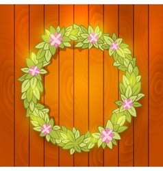 Cartoon wreath on wood wall background vector