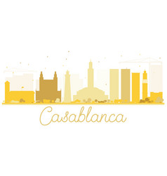 Casablanca city skyline golden silhouette vector