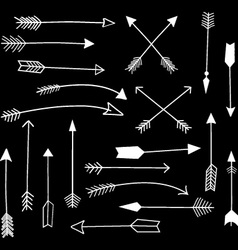Chalkboard Hand Draw Arrow set vector image
