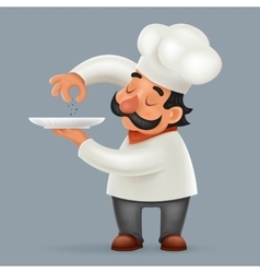 Chef Cook Serving Food 3d Realistic Cartoon vector image vector image