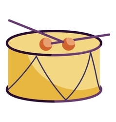 Drum and drum sticks icon cartoon style vector