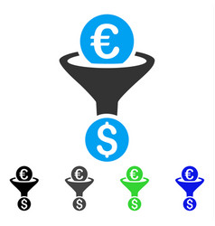 Euro dollar conversion funnel flat icon vector