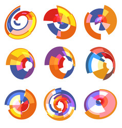Isolated abstract colorful pie chart logos set vector