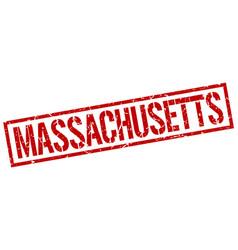 Massachusetts red square stamp vector