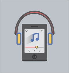 Mobile music with headphone vector