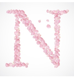 N letter Alphabet from pink petals of rose vector image vector image