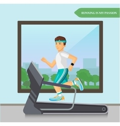 Runner men running on the treadmill in fitness vector image
