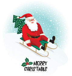 santa claus gives gifts on sledging vector image vector image