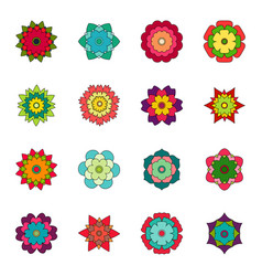 Set of bright flowers vector