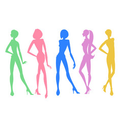 Set of young girls silhouettes posing in different vector