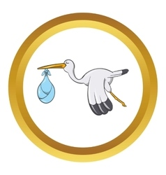 Stork with baby icon cartoon style vector