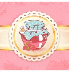 Strawberry jam retro background vector image