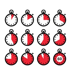 Time clock stopwatch red icons set vector image