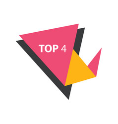 Top4 text in label pink yellow black vector