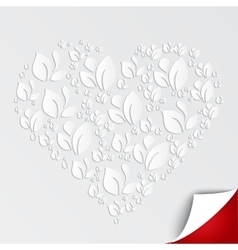 Valentines heart of paper leaves on white vector image