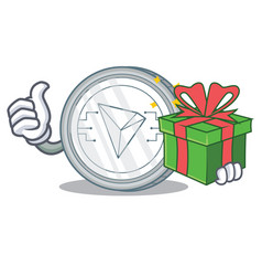 With gift tron coin character cartoon vector
