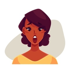 African girl face surprised facial expression vector image