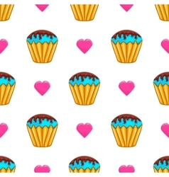 Seamless pattern with cake vector