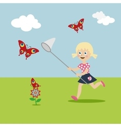 Little girl with a butterfly net in hand runs on a vector