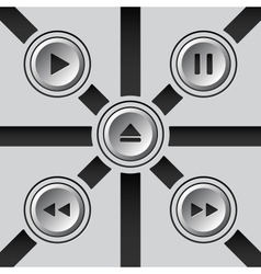 Gray 3d media buttons vector