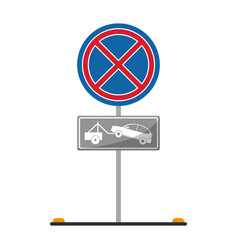 No parking road sign crane car vector