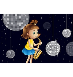 A girl performing inside the disco house vector