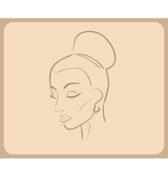 Handdrawn sketch of woman face with closed eyes vector