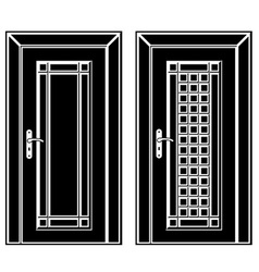 Antique wooden door black icons vector