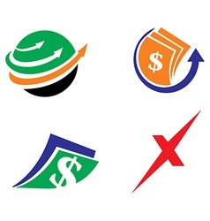 Cash transfer icon logo set vector