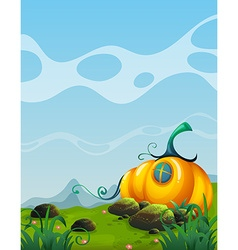 Pumpkin house in the field vector image