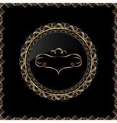 luxury gold ornament with emblem - vector image