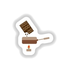 Stylish paper sticker chocolate fondue on candle vector