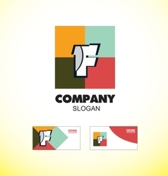 Alphabet letter f vintage strong colors logo icon vector